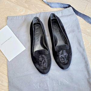 Alexander McQueen Velvet Skull Flats